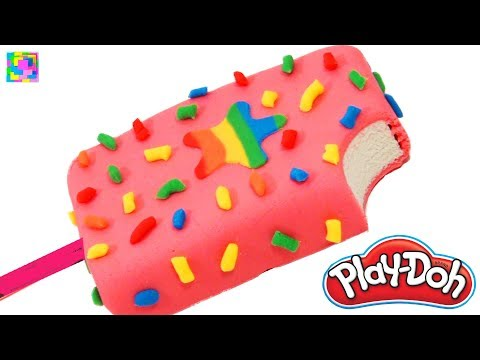 Play Doh Rainbow Ice Cream Popsicle  How to Make Play Doh Food  DIY for Kids  Funny learning