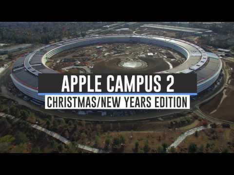 Drone Footage Showing the Construction Progress of the New Apple Campus 2 in