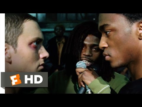 clips - 8 Mile Movie Clip - watch all clips http://j.mp/yoMhs8 click to subscribe http://j.mp/sNDUs5 B-Rabbit (Eminem) battles Papa Doc (Anthony Mackie) and blows hi...