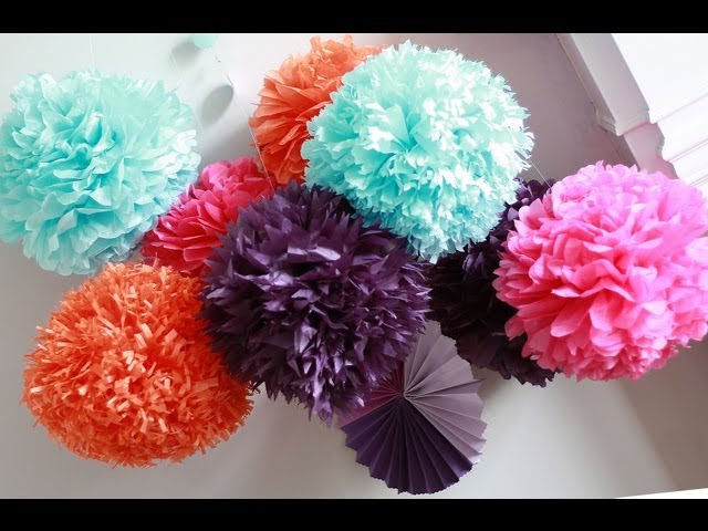 how to diy paper pom tutorial decorations that impress. Black Bedroom Furniture Sets. Home Design Ideas