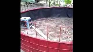 Contoh kolam terpal bundar kerangka besi