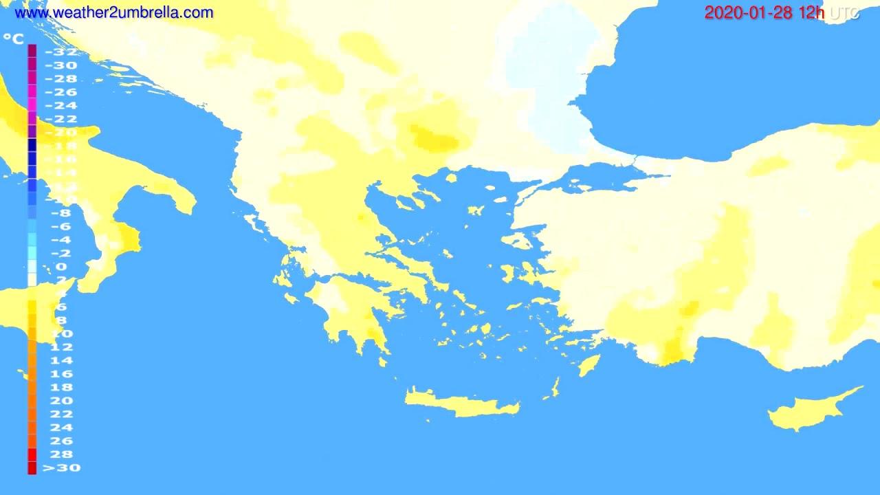 Temperature forecast Greece // modelrun: 12h UTC 2020-01-27