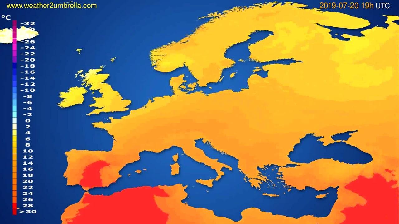 Temperature forecast Europe // modelrun: 12h UTC 2019-07-17