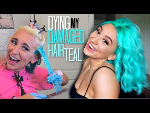 FINALLY Dying My Damaged Hair TEAL :.(  * I cried*