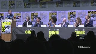 "The full Doctor Who panel with Peter Capaldi, Steven Moffat, Pearl Mackie, Matt Lucas, Michelle Gomez, and Mark Gatiss from San Diego Comic-Con 2017's Hall H! Subscribe now: http://bit.ly/1aP6Fo9The Doctor (Peter Capaldi) is an alien Time Lord from the planet Gallifrey who travels through all of time and space in his TARDIS with his companion. Instead of dying, the Doctor is able to """"regenerate"""" into a new body, taking on a new personality with each regeneration.Twitter: http://twitter.com/doctorwho_bbcaFacebook: http://www.facebook.com/DoctorWhoTumblr: http://DoctorWho.tumblr.comInstagram: http://instagram.com/doctorwho_bbcaSnapchat: http://snapchat.com/add/bbcamerica_tv"
