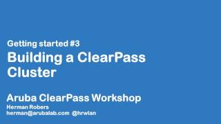 In this video, we build a ClearPass cluster with a publisher and 3 subscribers and configure a Virtual IP between two appliances...