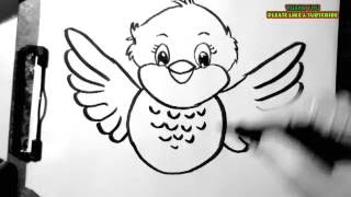 Learn to draw a cartoon bird easy and simple..