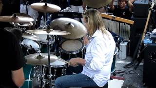 "Iron Maiden's drummer Nicko McBrain performing song ""Wasted Years"" live at pre-concert part @ his restaurant Rock N Roll Ribs."