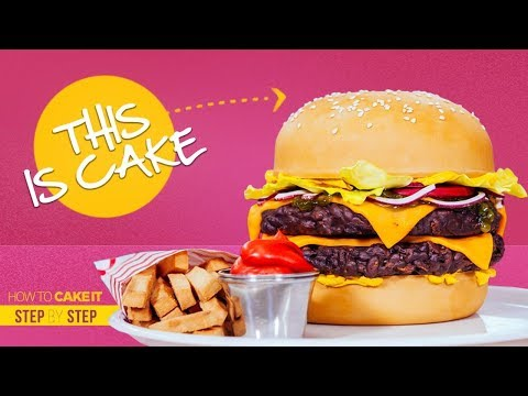 How To Make A Cheeseburger 🍔 and Fries 🍟 Out Of Cake 🎂 Step By Step |  How To Cake It