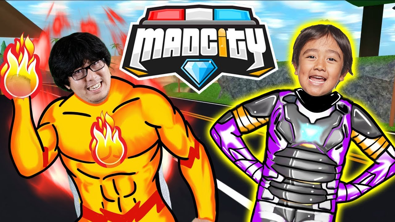 RYAN HAS A NEW HERO SUIT IN MAD CITY ROBLOX ! Let's Play Ryan Vs Daddy - YouTube