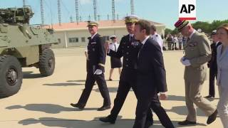 (20 Jul 2017) French President Emmanuel Macron has visited a military base as he tries to show his commitment to the troops amid an intense crisis over defence spending.