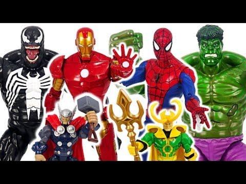 Marvel Avengers talking giant Hulk, Spider-Man, Iron Man VS Venom battle! #DuDuPopTOY