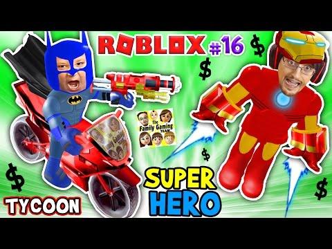 ROBLOX SUPER RICH HEROES $$$$ Iron Man Duddy vs Batman Chase SUPERHERO TYCOON (FGTEEV #16 Gameplay) (видео)
