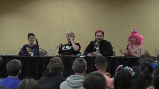 Saberspark and ACRacebest with, for the first time ever, their girlfriends, Toodles and Laura.Everfree Northwest 2017 Saturday Panel.