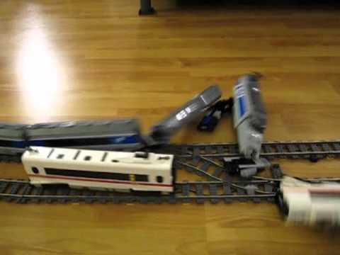 LEGO TGV and ICE 3 high speed crash on double track 9V train layout
