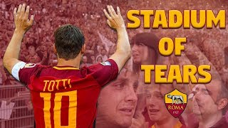 When Francesco Totti cries, we all cry.Subscribe to AS Roma on YouTube: http://bit.ly/ASRoma_Welcome to the official Youtube channel of AS Roma.Roma Network is the destination for Giallorossi, lifestyle and entertainment. Il canale ufficiale Youtube dell'AS Roma.Roma Network è il mondo dell'intrattenimento e del lifestyle per i tifosi giallorossi di tutto il mondo.Facebook: https://www.facebook.com/officialasromaGoogle+: https://plus.google.com/u/1/+asroma/Instagram: https://instagram.com/officialasroma/Twitter: https://twitter.com/OfficialASRoma