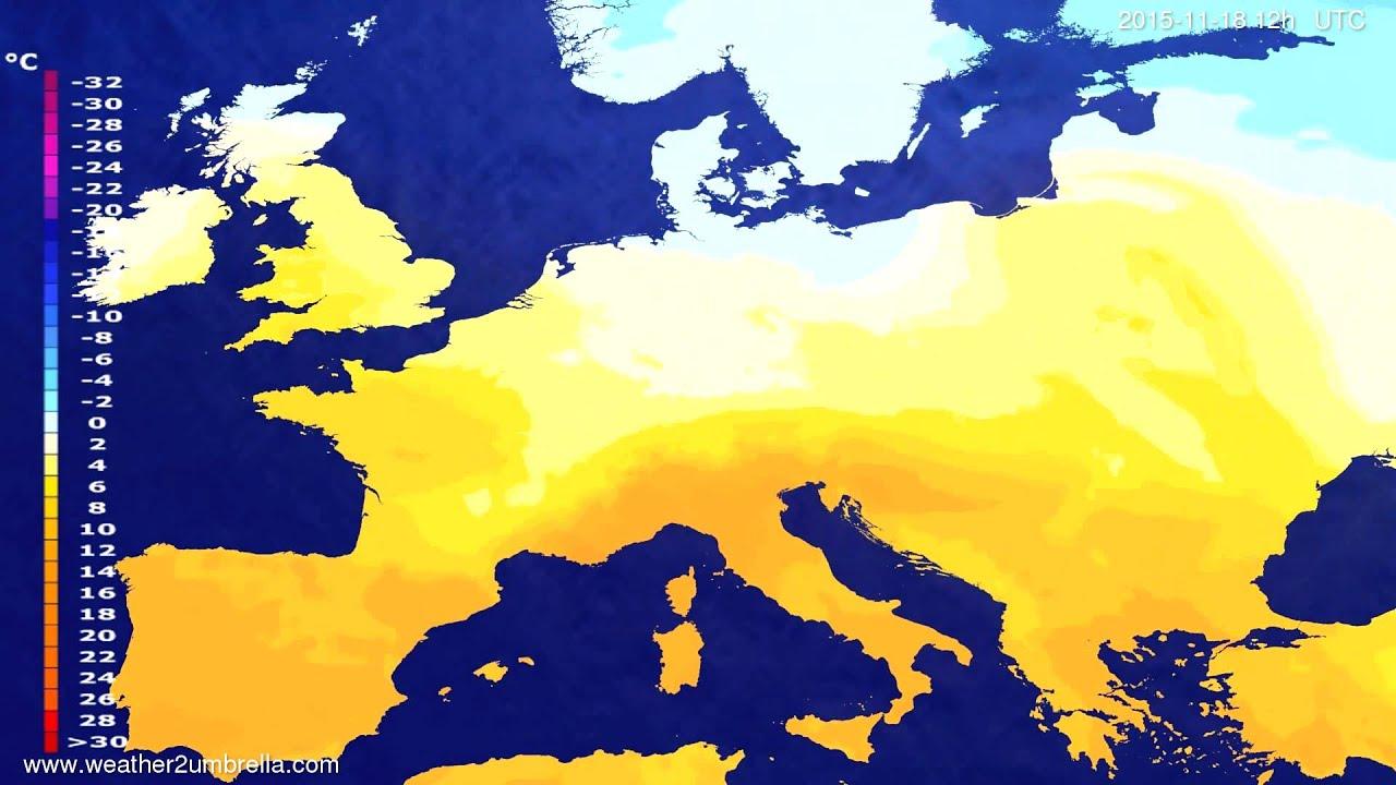 Temperature forecast Europe 2015-11-16