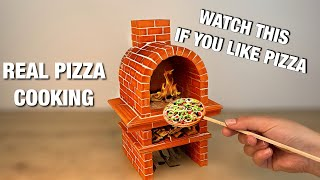 HOW TO BUILD A Miniature PIZZA OVEN from Mini Bricks — BRICKLAYING — mini pizza in the oven!