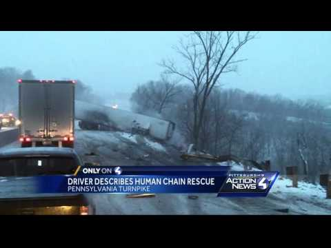 Human chain rescues trucker!