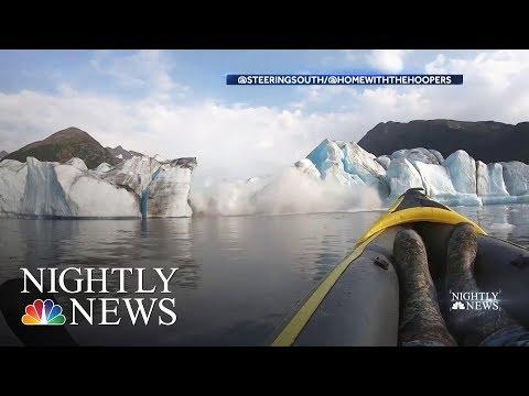 Dramatic Video Shows Alaska Glacier Collapse Near Kayaker | NBC Nightly News