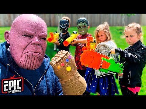Nerf Battle: Hero Kidz vs Thanos Pretend Play For Kids