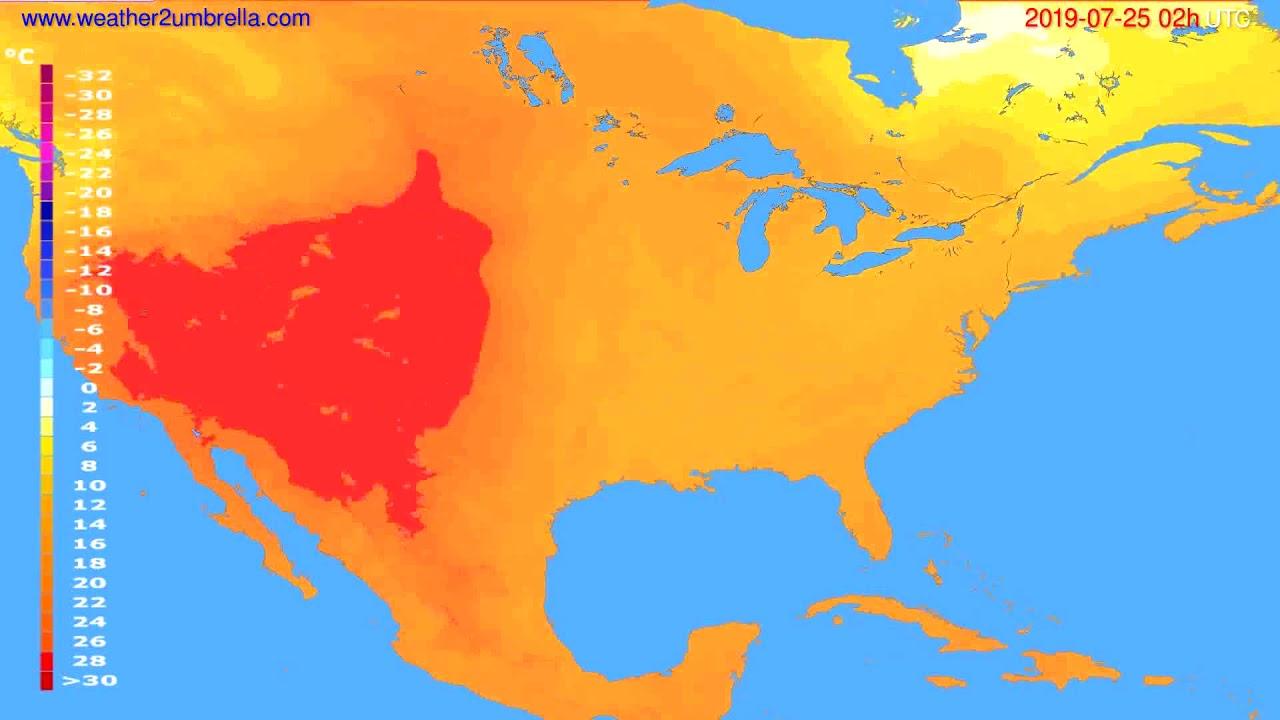 Temperature forecast USA & Canada // modelrun: 00h UTC 2019-07-23