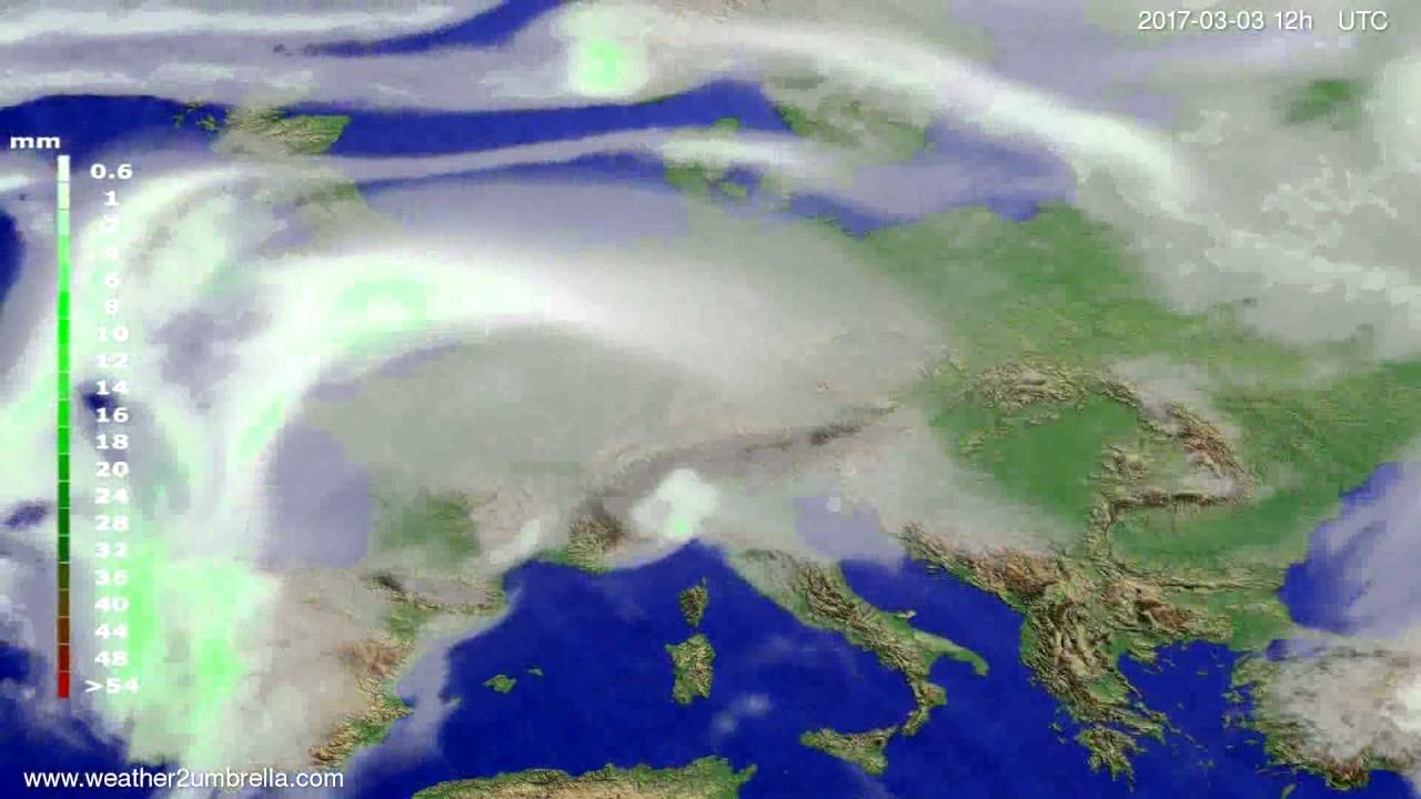 Precipitation forecast Europe 2017-03-01
