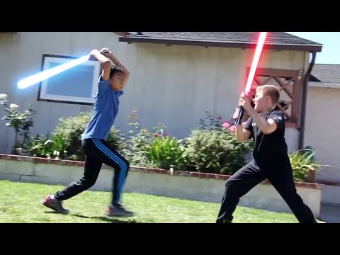 How Kids Play Star Wars - Sword Battle, Light Sabers Darth Vader  For Kids 2016