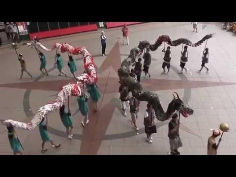 滋賀県大津市立打出中学校 龍踊り体験龍学 JR長崎駅かもめ広場 20140605 114220