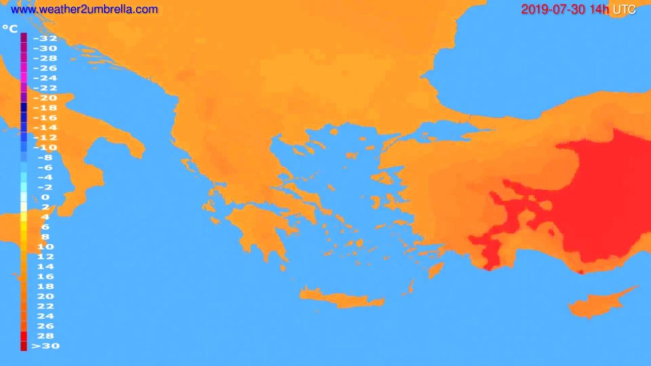 Temperature forecast Greece // modelrun: 00h UTC 2019-07-28