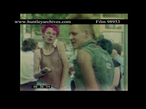 Punk Rockers in Berlin, 1980's.  Archive film 98953