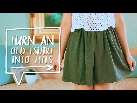 DIY CLOTHES HACK   Transform a TSHIRT into a SKIRT!   Easy Sewing Project  ✨Alejandra's Styles