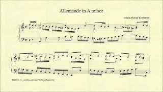 Kirnberger, Johann Philipp, Allemande in A minor, Piano