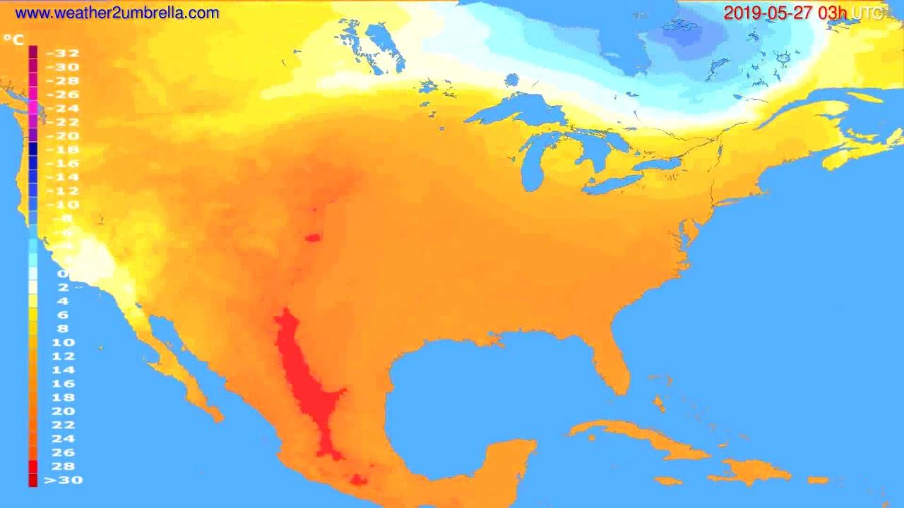 Temperature forecast USA & Canada // modelrun: 00h UTC 2019-05-24