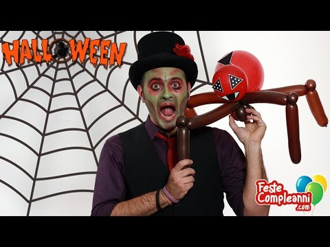 ragno - Halloween ideas, tutorial for create a Spider Balloon for the Halloween Party. Decorazioni per Halloween, palloncino Ragno, Balloon Spider, per la vostra fes...
