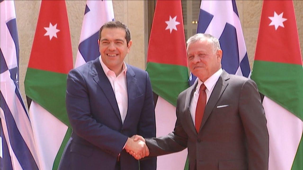 Συνάντηση του πρωθυπουργού της Ελλάδας Αλέξη Τσίπρα με τον βασιλιά της Ιορδανίας Αμπντάλα Β΄