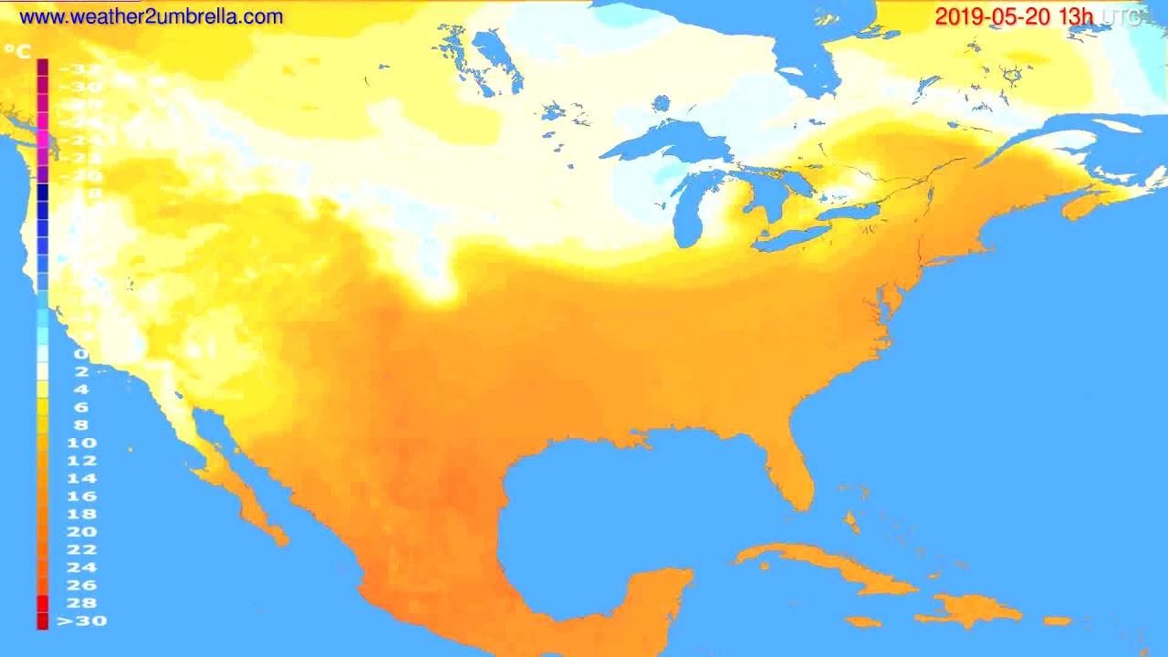 Temperature forecast USA & Canada // modelrun: 12h UTC 2019-05-18