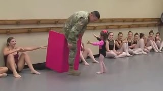 National Guard Specialist Paul Hayhurst, who had been in training for the past 7 months, surprised his 3-year-old daughter Isabella during her dance class in...