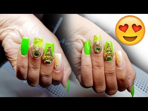 Gel nails - HOW TO: OMBRE & GREEN GELNAILS  SUMMER VIBES DESIGN