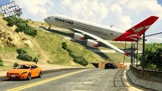 GTA 5- Massive Air Plane A380- Emergency Landing on Strange Place at Mountain (Funny Moments)