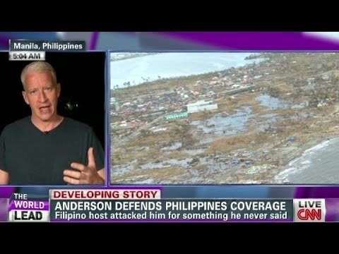 Coverage - Filipina host attacked CNN's Anderson Cooper for something he never said while covering Typhoon Haiyan's aftermath.