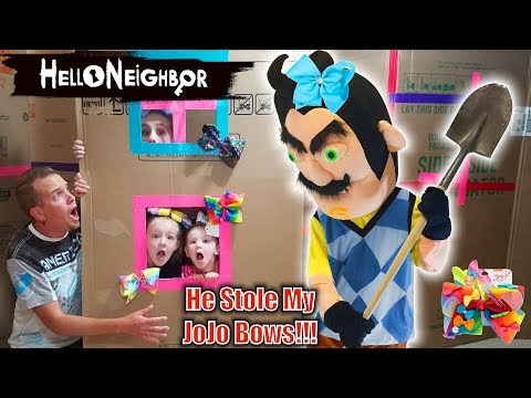 Hello Neighbor in Real Life!!! JoJo Bows Scavenger Hunt! He Stole My JoJo Siwa Bow Collection!!! (видео)