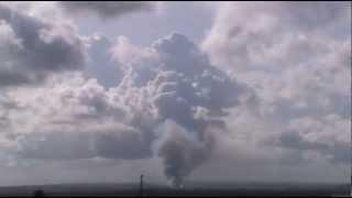 Cumulonimbus, shelf cloud, rain, lightning and wildfire visible from João Pessoa - Mar 04, 2013
