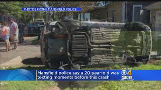 Police say this one car rollover crash is why drivers shouldn't text and drive. WBZ-TV's Liam Martin reports.