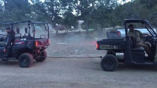 9. 2017 Honda Pioneer 700-4 VS. 2015 Polaris Ranger 900 XP Pull Off  Round 1 Being A DICK!