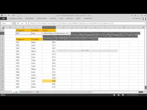 excel-104 - WYSZUKAJ.PIONOWO - kilka kryteriów (wartości) - formuła tablicowa z funkcją WYBIERZ