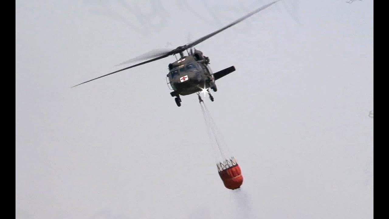 National Guard BlackHawk Helicopters Bambi Buckets Fire Support | AiirSource
