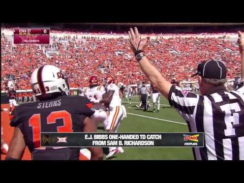 E.J. Bibbs 17-yard one-handed touchdown catch vs Oklahoma St. 2014 video.