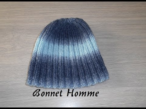 Tricoter un bonnet homme côte 2/2 facile, et rapide / knit a hat for man