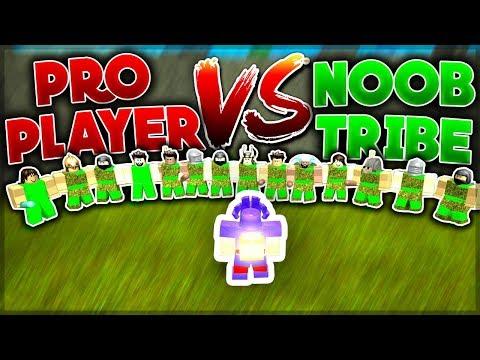 PRO PLAYER vs NOOB TRIBE (1vs19) Who would win?  Roblox: Booga Booga